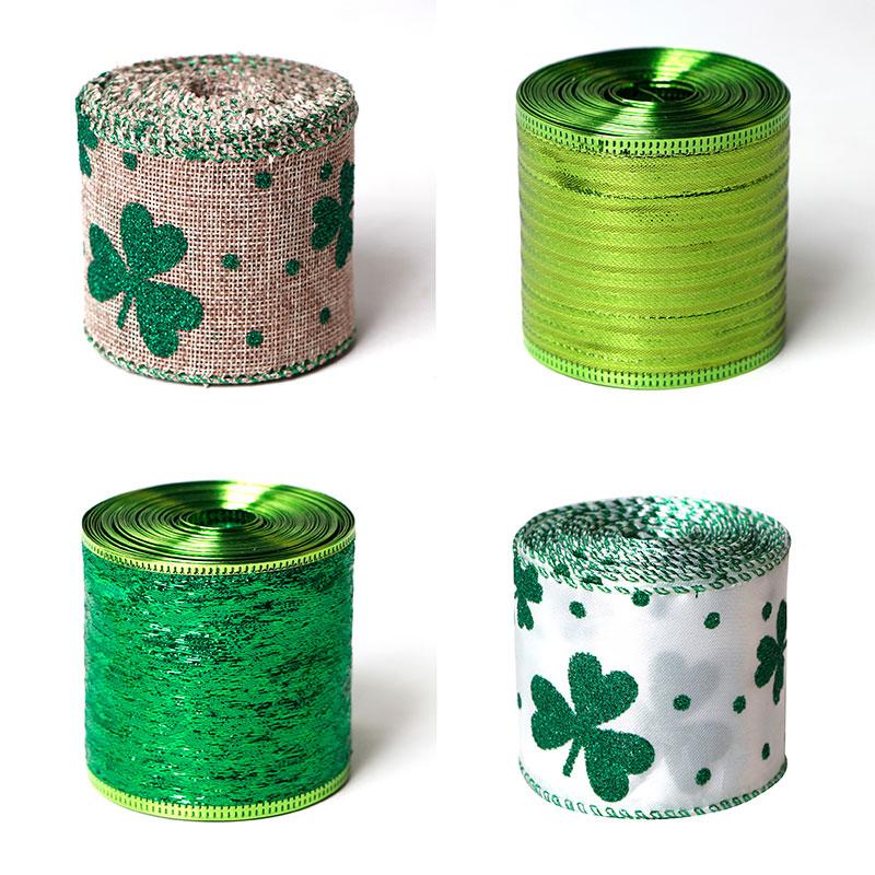 St. Patrick's Day Ribbons Irish Ribbon Clover Pattern Burlap Ribbon Glitter Green Wrapping Ribbon