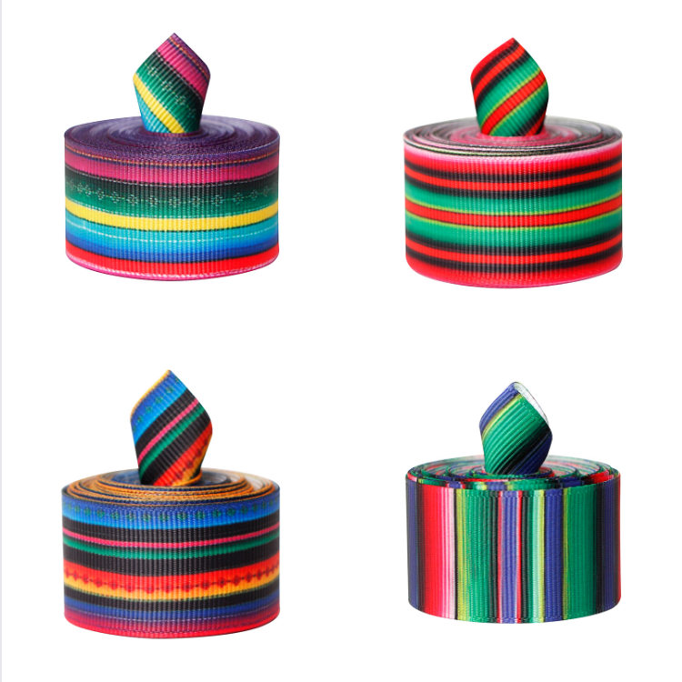 Fiesta Ribbon Mexican Serape Ribbon Rainbow Stripes Ribbon Colorful Grosgrain Ribbon