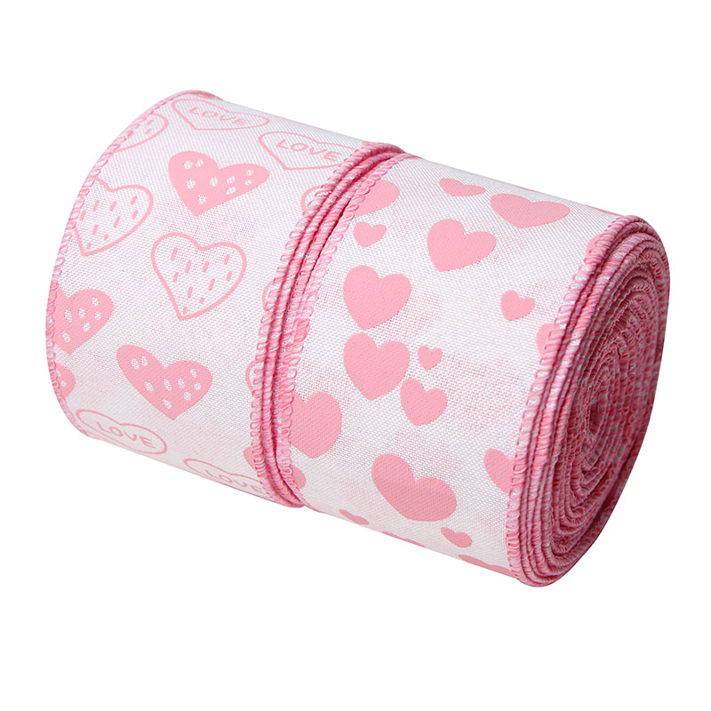 Valentine's Day Burlap Ribbon Rolls Wired Edge Love Hearts Pattern Ribbons for Wrapping Gifts