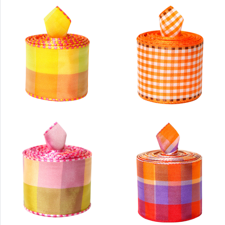 38mm Orange Plaid Ribbon Gingham Craft Ribbon Wired Ribbon For Easter Day