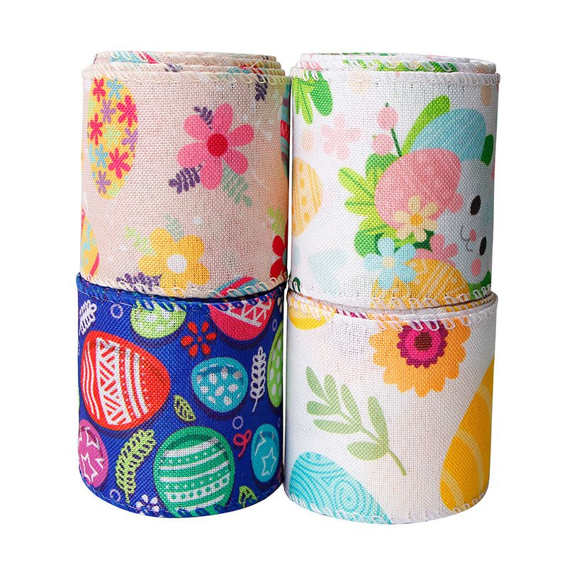 Easter egg printed ribbon wired edge burlap craft ribbon for Easter day