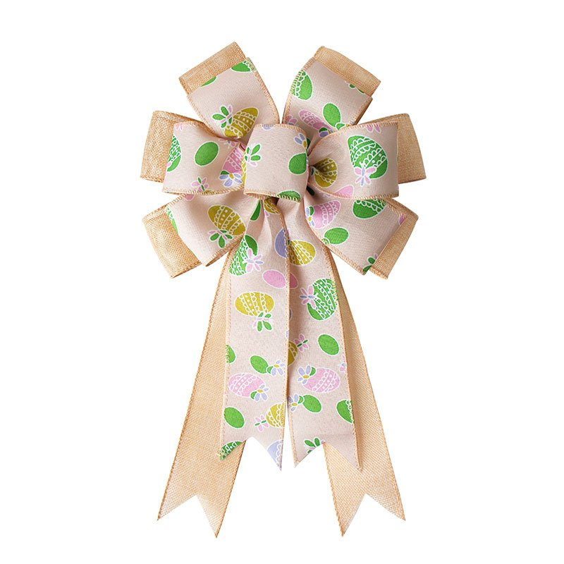 Wired Edge Ribbon Bows Burlap Print Ribbon Bow for Easter Day Decoration