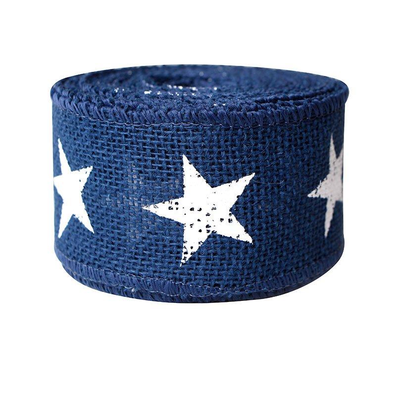 Jute Burlap Ribbon Star Printed Burlap Ribbon for Independence Day