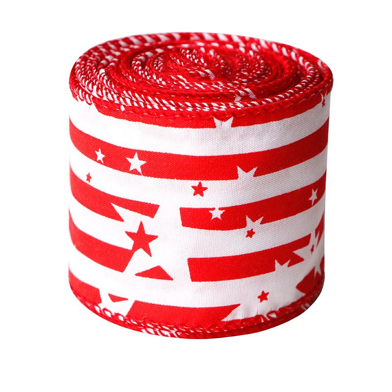Patriotic Burlap Ribbons Independence Wired Edge Ribbon Stripes Stars
