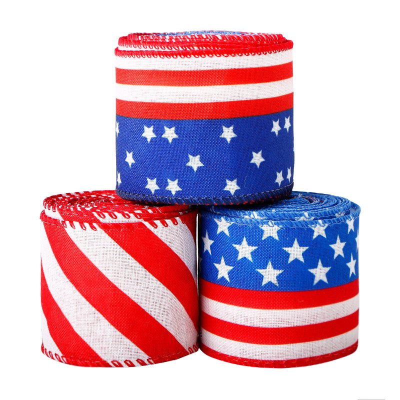 63mm Stars and Stripes Wired Ribbon USA Themed Ribbon for Independence Day