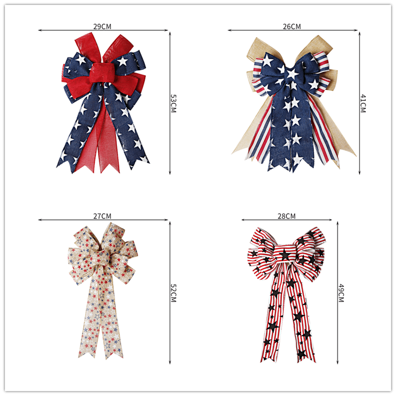 Patriotic Ribbon Bows Independence Day Wreath Bow Stars and Stripes Tree Topper Bow
