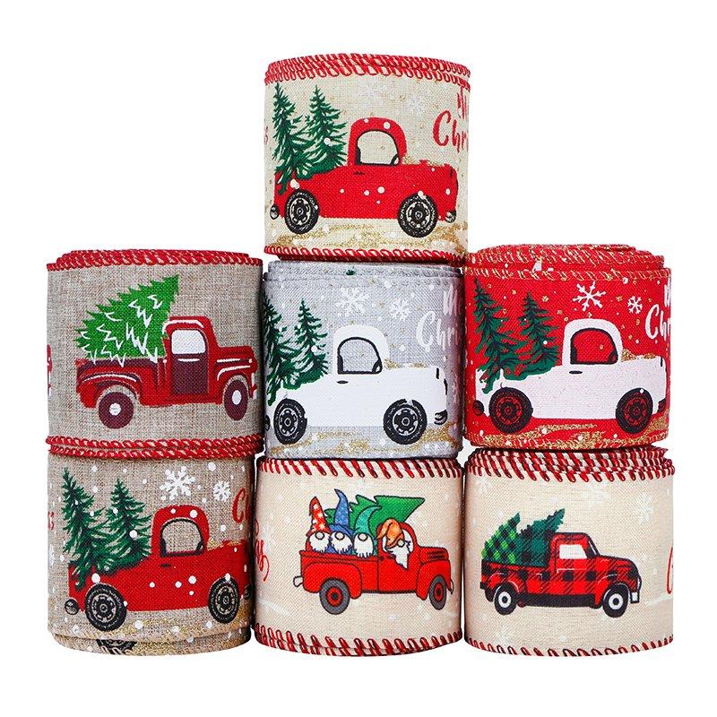 Christmas Vintage Truck Wired Edge Ribbon Christmas Burlap Ribbon