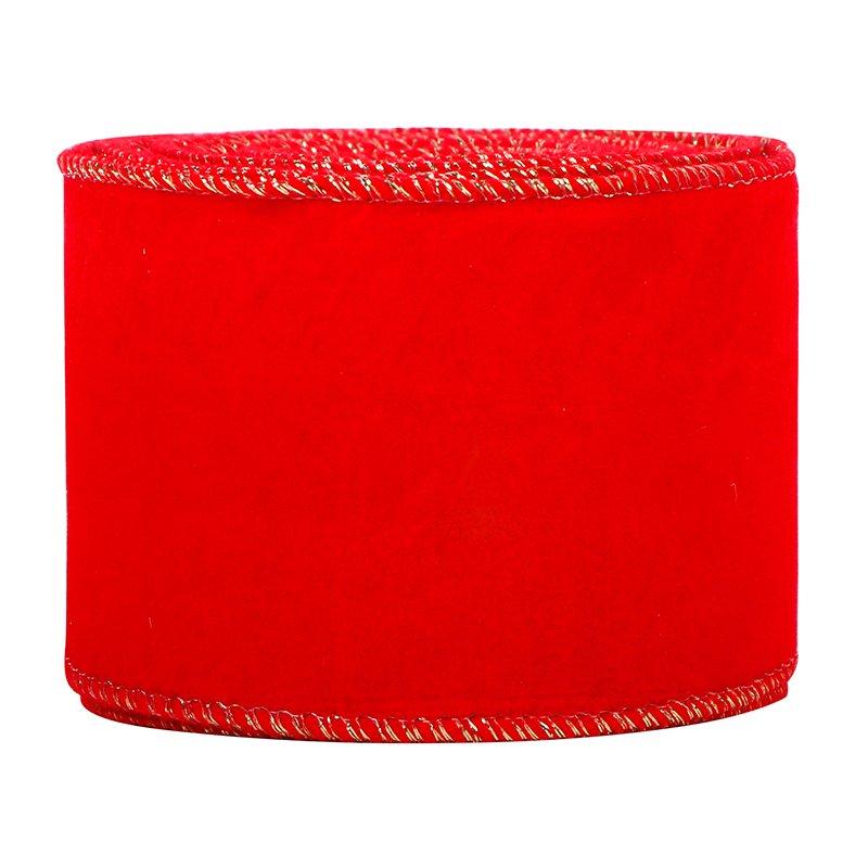 Red Velvet Christmas Ribbon Wired Edge Velvet Ribbon 2.5 Inch Wired Ribbon for Christmas Crafts Deco