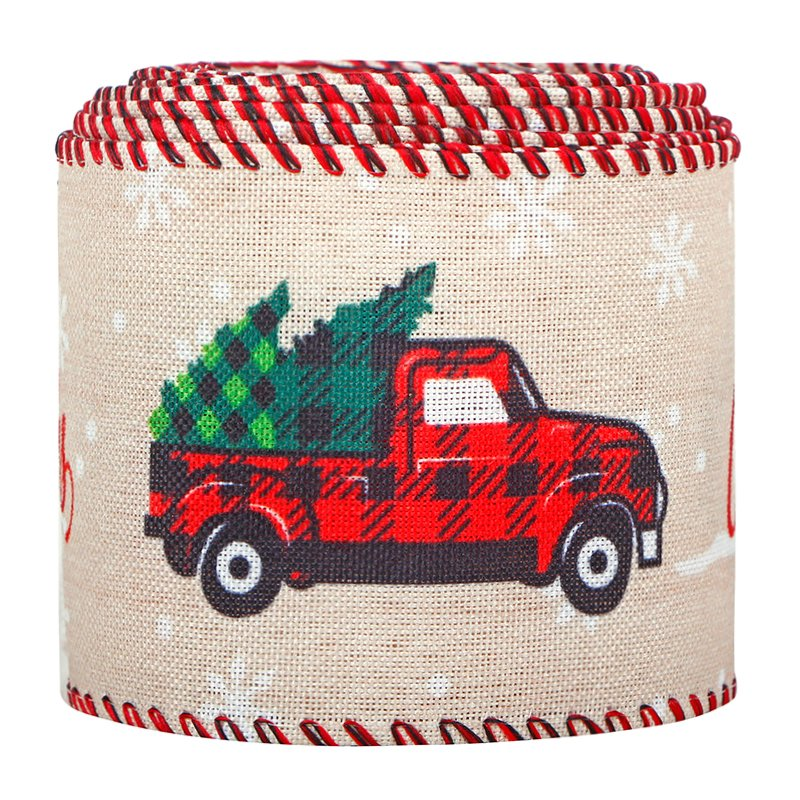 Vintage Truck with Tree Wired Ribbon Merry Christmas Printed Ribbon for Christmas Decoration