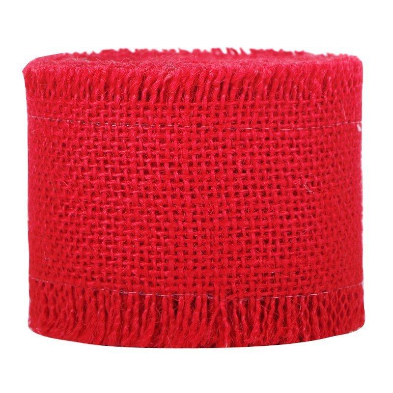 red burlap ribbon