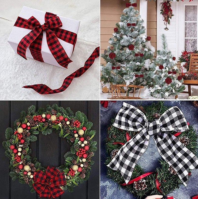 Christmas wide wired edge ribbons
