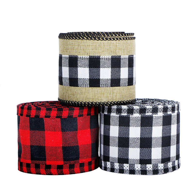 Wired Edge Ribbons 2.5 Inches Burlap Craft Ribbon for DIY Gift Wrapping Christmas Fall Crafts Decora