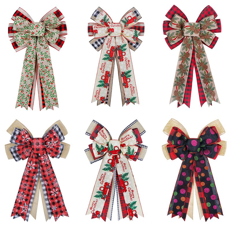 Wholesale Christmas Bow Supplier Burlap Ribbon Bow Truck Snowflake Christmas Bows Decoration