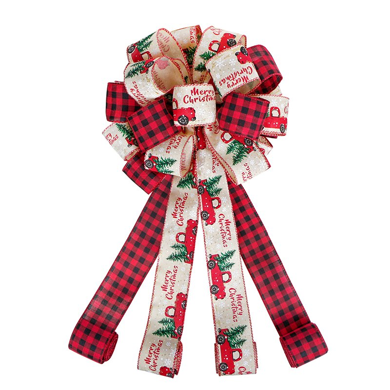 Christmas Ribbon Tree Toppers Large Burlap Bows with Long Loop