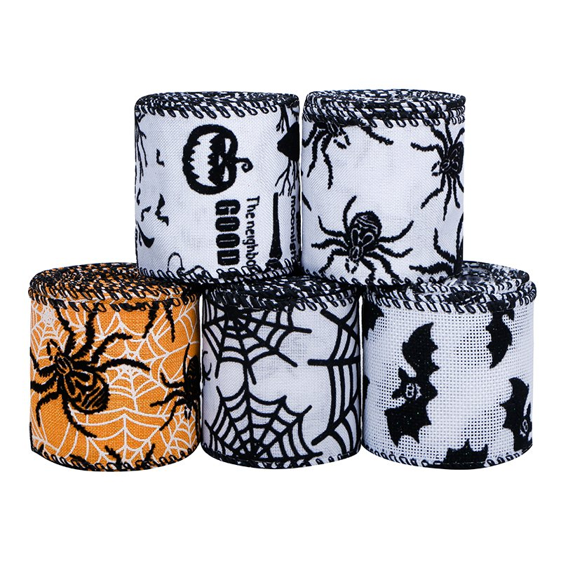 2.5 Inch Burlap Print Ribbon Wired Halloween Ribbon for Crafts