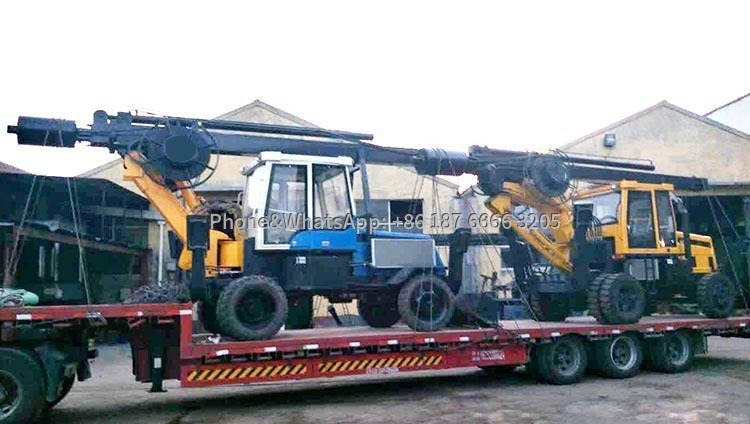 Photos of simultaneous delivery of two wheeled rotary drilling rigs