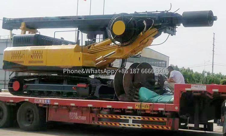 Picture of delivery of small track rotary drilling rig