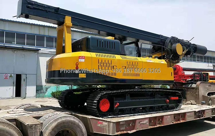Hydraulic crawler rotary drilling rig sent to construction site