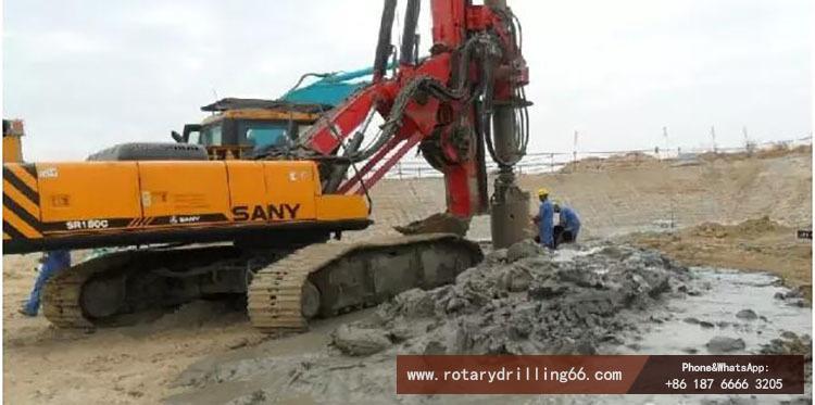 Pile drilling machine in silt construction scene