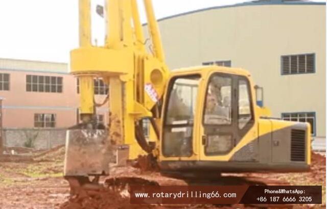 Pile drilling machine construction site