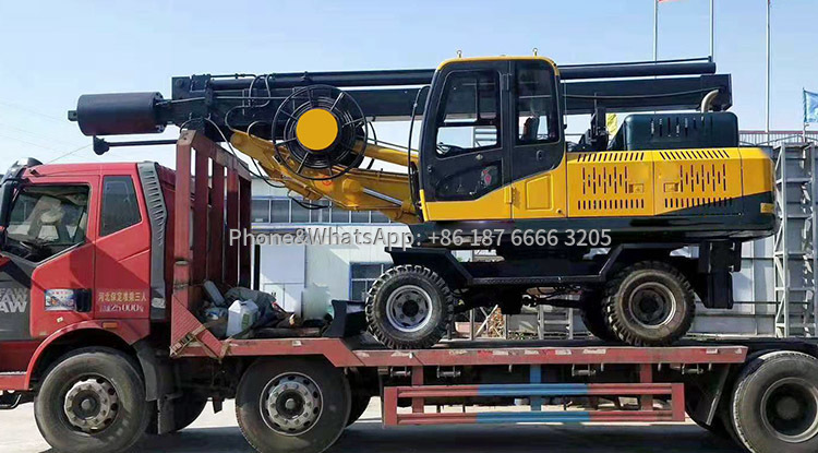 Delivery scene of 360-degree wheeled rotary drilling rig