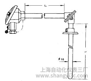 装配式热电偶活动法兰直角式安装图片及尺寸