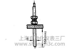 铠装热电偶在水平管道上的垂直安装图片
