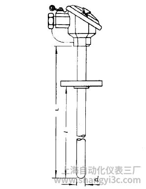 WZP-421固定法蘭防濺式熱電阻安裝圖片