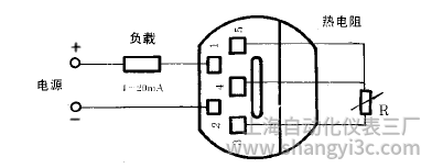 SBWZ-4460常規型熱電阻溫度變送器接線圖