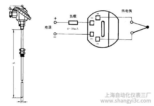 SBWR-2280/338K热电偶一体化温度变送器安装图片