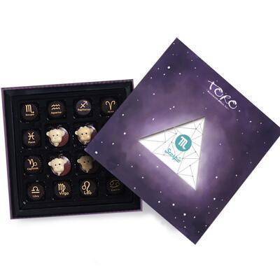 送女朋友的礼物:十二星座手绘涂鸦巧克力礼盒