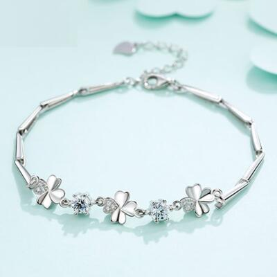 送女朋友的礼物:四叶草纯银手链