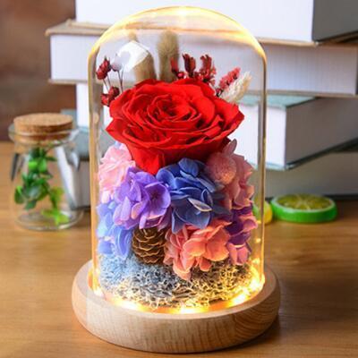 女友礼物:玻璃罩永生玫瑰花礼盒