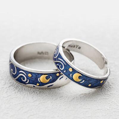 女友礼物:梵高星空情侣戒指