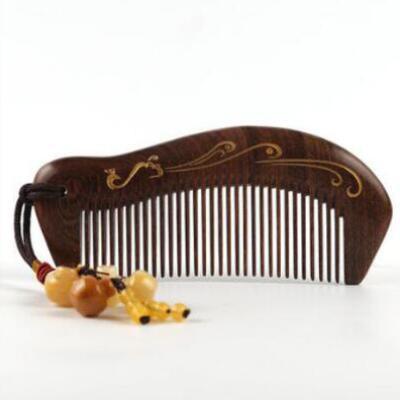 女友礼物:金丝檀木刻字梳子