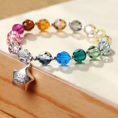 十二星座彩色水晶银手链