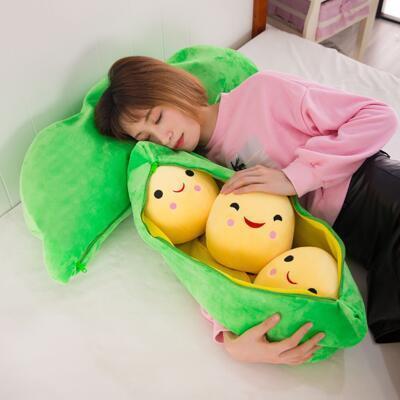可爱豌豆荚毛绒玩具