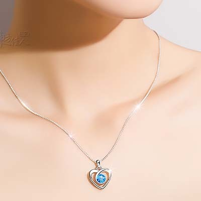 一生所爱托帕石心形纯银项链