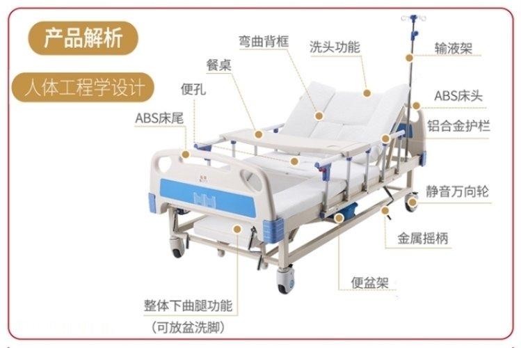 多功能瘫痪老人家用护理床设计功能有哪些