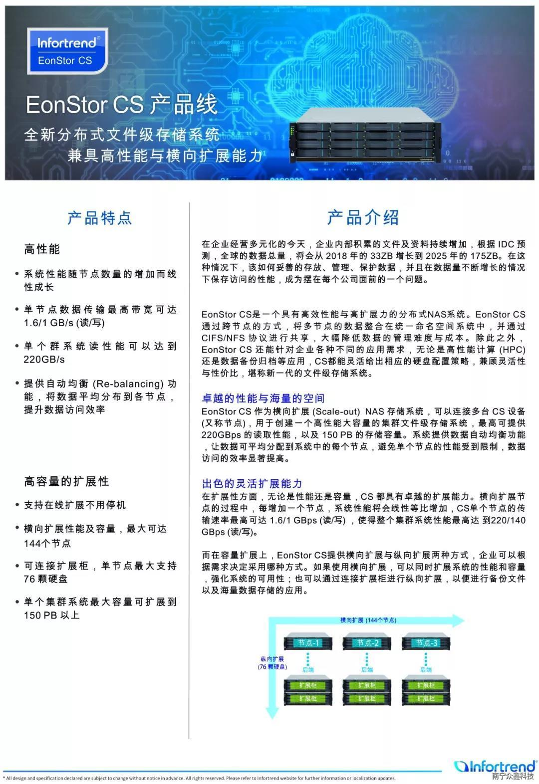 infortrend普安存儲-EonStor CS 分布式NAS 存儲