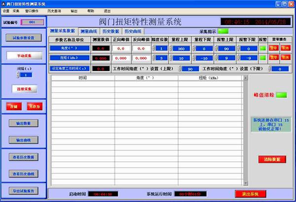阀门扭矩特性测量系统采集数据