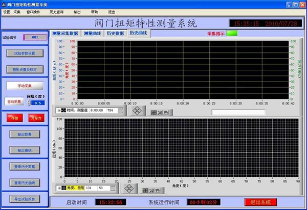 电动执行器测试系统主界面