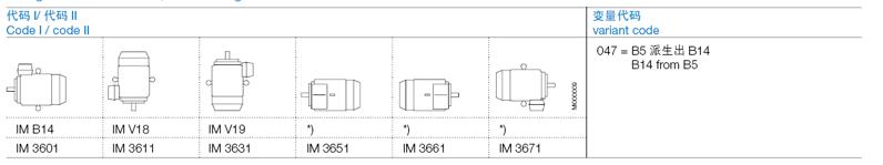 ABB M2BAX电机产品概述-安装结构形式-凸缘安装型电机,小凸缘Flange-mounted motor, small flange