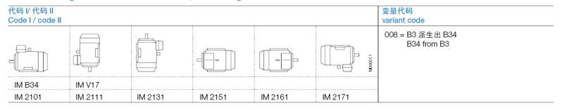 ABB M2BAX电机产品概述-安装结构形式-底脚和凸缘安装型电机,小凸缘Foot- and flange-mounted motor with feet, small flange