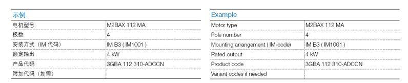 ABB M2BAX电机-订购示例