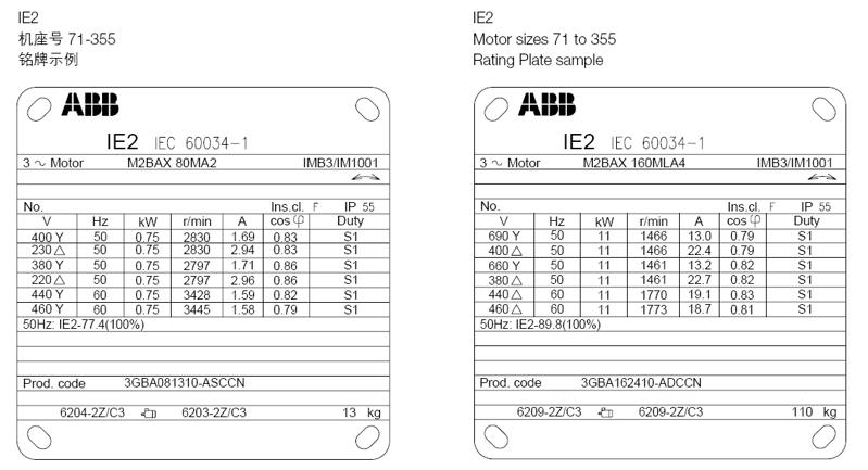 ABB M2BAX电机 铭牌信息1 Rating plates
