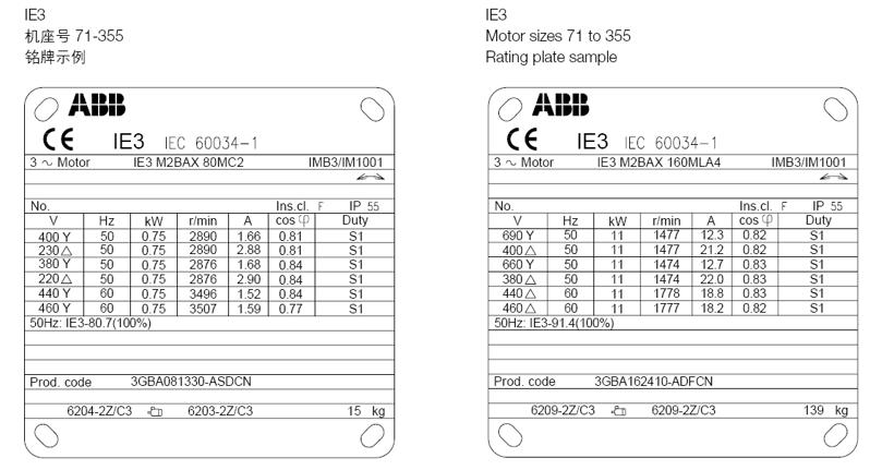 ABB M2BAX电机 铭牌信息2 Rating plates