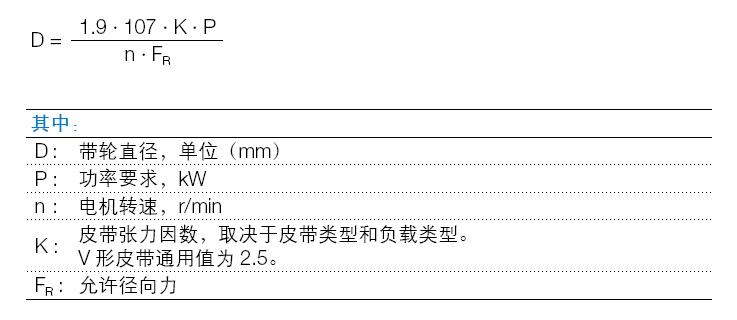 ABB M2BAX电机皮带轮计算公式