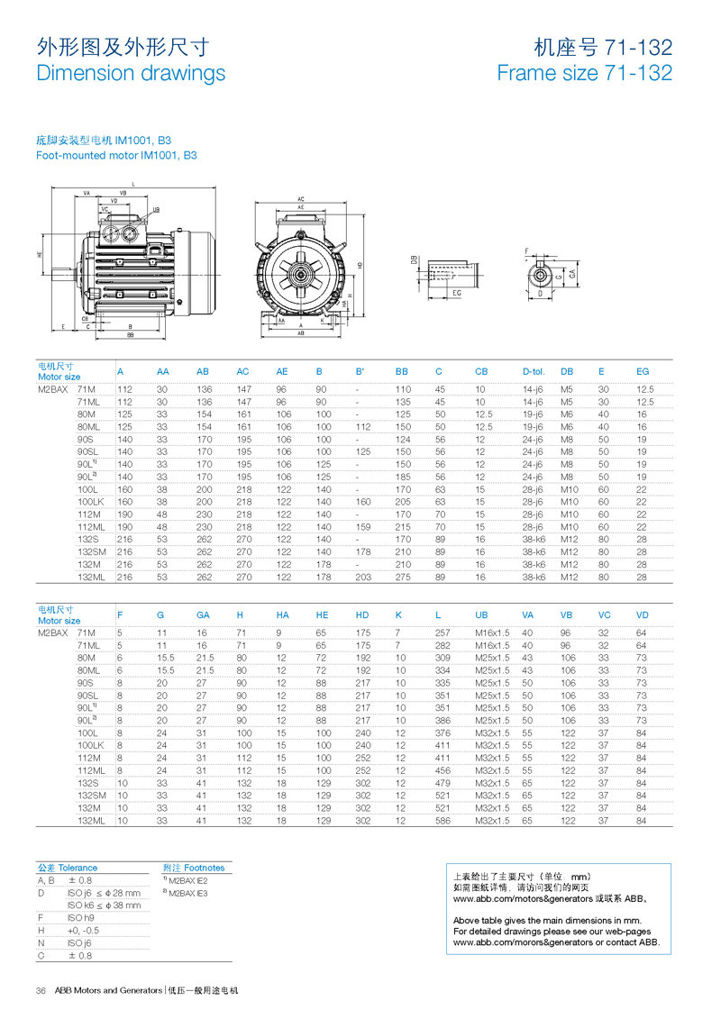 1.机座号71-132底脚安装型电机IM1001- B3外形图及外形尺寸