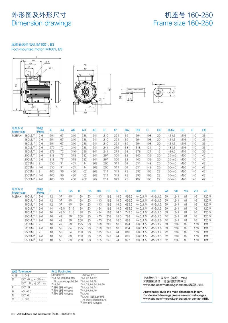 3.机座号160-250底脚安装型电机IM1001, B3外形图及外形尺寸